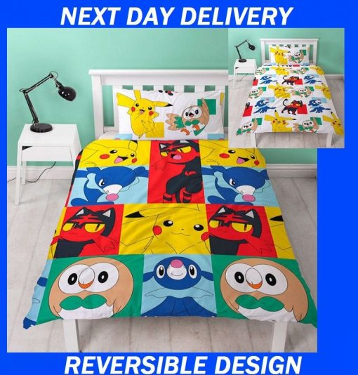 Pokemon Kids Duvet Single Doona Quilt Bedding Reversible Cover Set