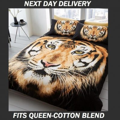 Tiger Cotton Blend Fits Queen Doona Duvet Quilt Cover Set